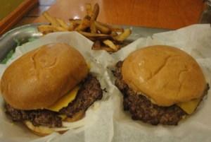 Two Edzos cheeseburgers