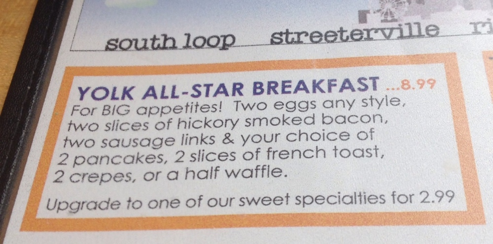Yolk allstar breakfast menu