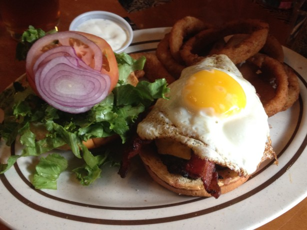 The Egg Burger on the plate at Monks