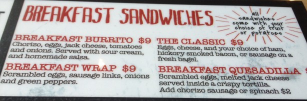 Breakfast Sandwiches at The Belmont Cafe